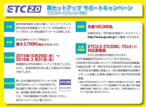 DSRC(ETC2.0)再セットアップキャンペーン