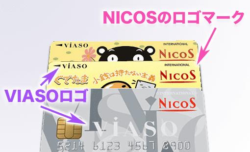 VIASOカード、NICOSカードのロゴ表記例