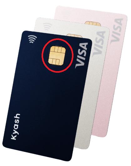「Kyash Card」(色は選択可)。赤く囲んだ部分がICチップです。