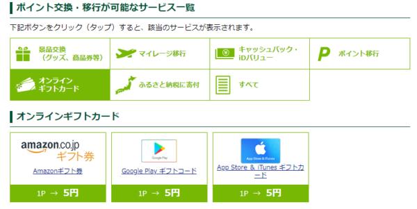 三井住友カードポイント交換先 ギフト券