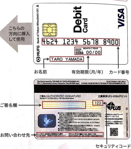 三菱東京UFJ-VISAデビット|ご利用ガイドより 券面説明