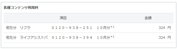 Yahooプレミアム明細