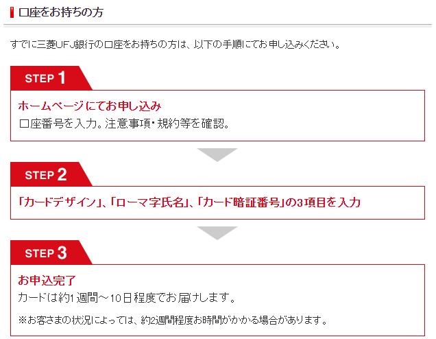 >三菱UFJ銀行HP|デビット申し込みの流れ