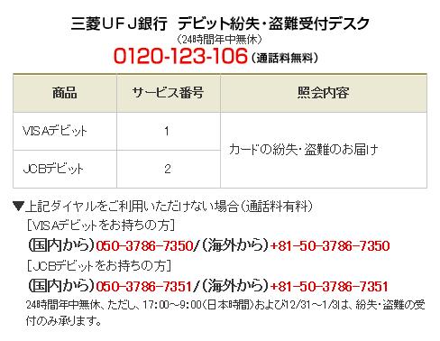 三菱UFJ銀行デビット紛失・盗難受け付けデスク