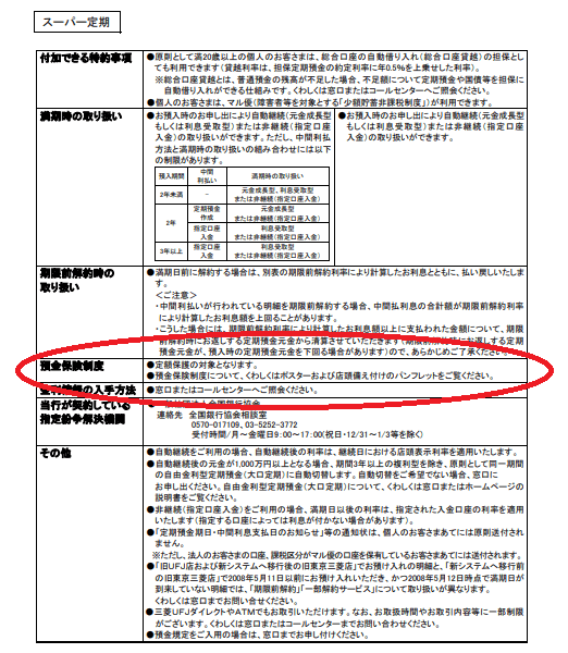 スーパー定期預金商品説明書|三菱UFJ銀行