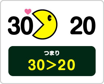 『30』と『20』を見つけると…