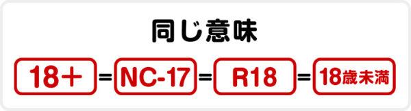 「18+」「NC-17」「R18」「18歳未満」は同じ意味