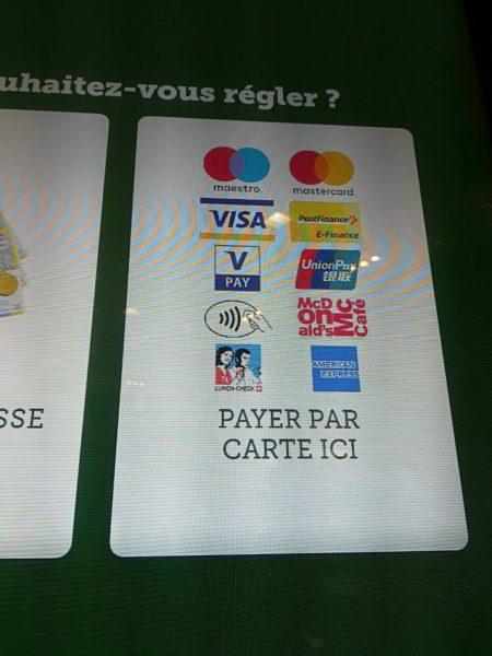 スイス西部(フランス語圏)在住の友人提供、マクドナルドで利用できる各種カード